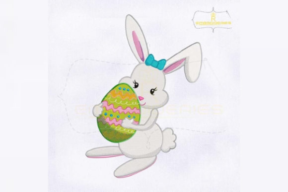 Holding Easter Egg Miss Bunny Easter Embroidery Design By RoyalEmbroideries