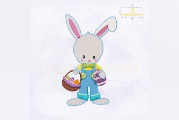 Holding Eggs Basket Bunny Easter Embroidery Design By RoyalEmbroideries