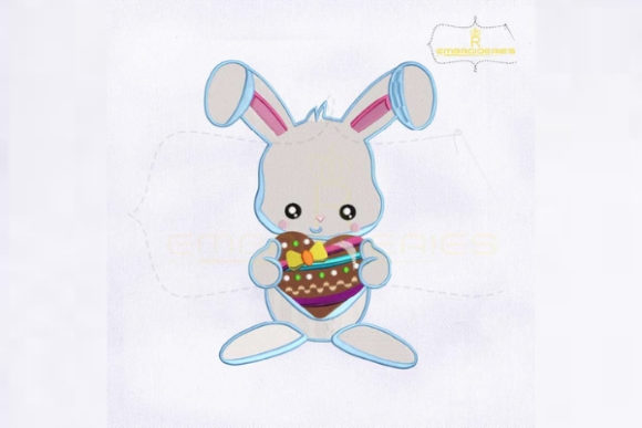 Holding Heart Bunny Easter Embroidery Design By RoyalEmbroideries