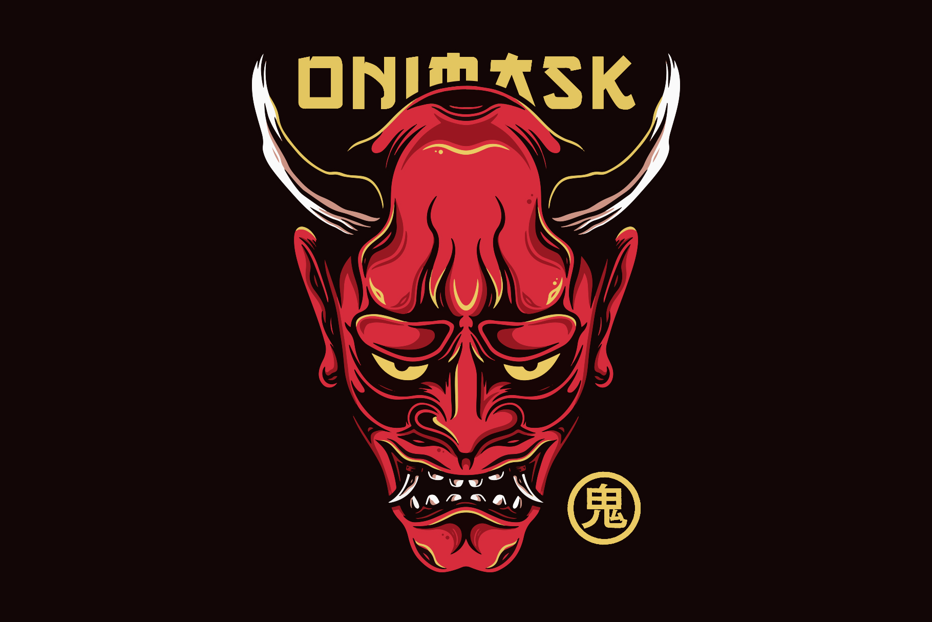 Download Free Japanese Oni Mask Tattoo Vector Design Graphic By Vectorwithin Creative Fabrica for Cricut Explore, Silhouette and other cutting machines.