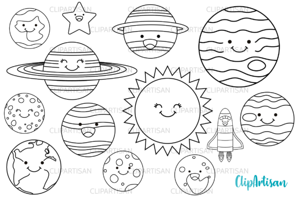 Download Free Kawaii Happy Planets Digital Stamps Graphic By Clipartisan for Cricut Explore, Silhouette and other cutting machines.