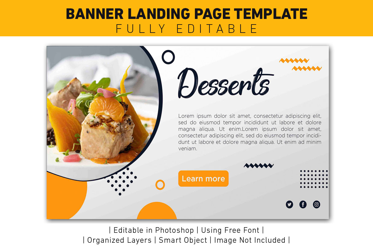 Download Free Landing Page Desserts Yellow Template Graphic By Ant Project for Cricut Explore, Silhouette and other cutting machines.