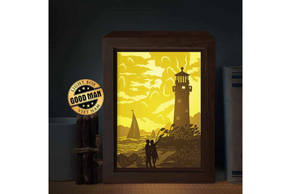 Lighthouse 5 3D Paper Cutting Light Box Graphic