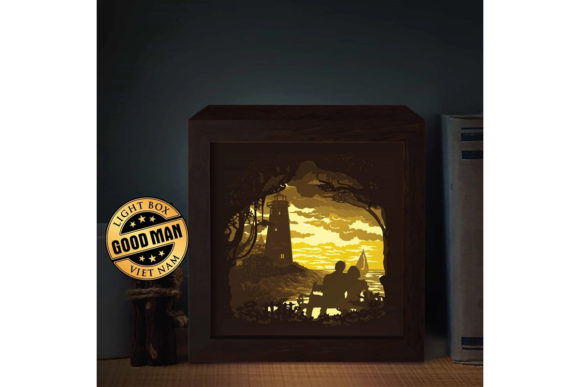Print on Demand: Lighthouse Square Paper Cutting LightBox Graphic 3D Shadow Box By LightBoxGoodMan