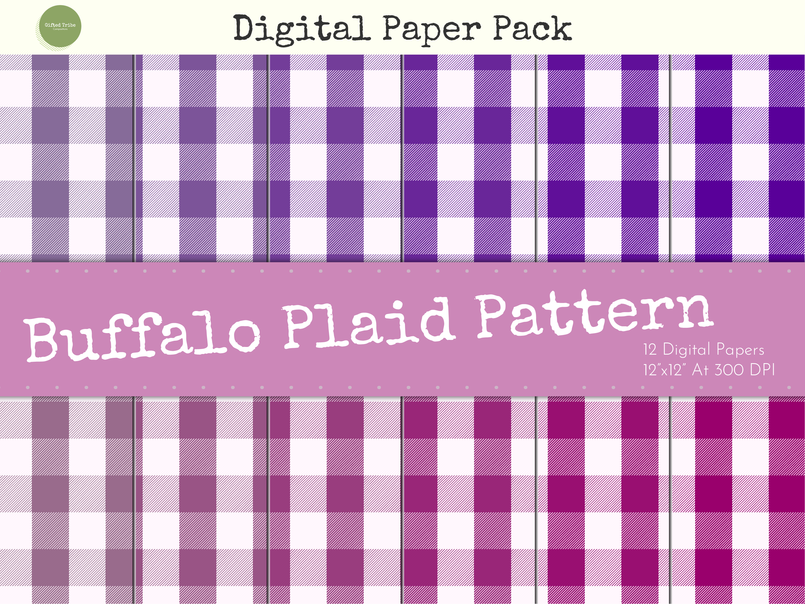Download Free Lilac Buffalo Plaid Digital Papers Pack Graphic By Gifted Tribe for Cricut Explore, Silhouette and other cutting machines.