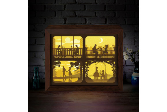 Love Story 3D Paper Cutting Light Box Graphic