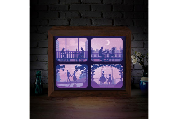 Love Story 3D Paper Cutting Light Box Graphic Download
