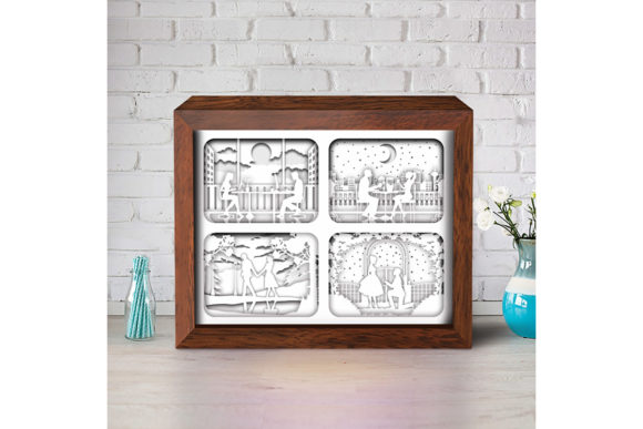 Love Story 3D Paper Cutting Light Box Graphic Item