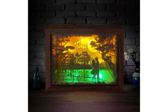 Print on Demand: Love Under the Moon 3D Paper Light Box Graphic 3D Shadow Box By LightBoxGoodMan