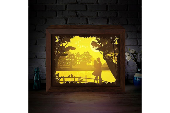 Download Free Love Under The Moon 3d Paper Light Box Graphic By Lightboxgoodman Creative Fabrica for Cricut Explore, Silhouette and other cutting machines.