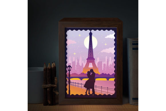 Print on Demand: Love in Paris 3D Paper Cutting Light Box Graphic 3D Shadow Box By LightBoxGoodMan