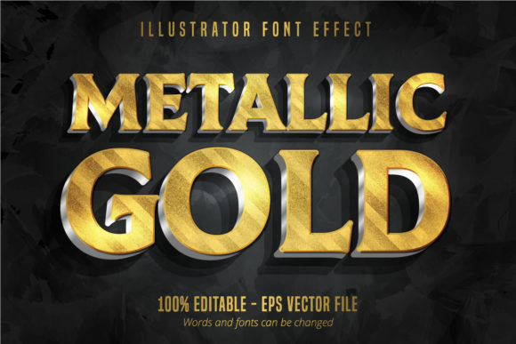 Print on Demand: Metallic Gold 3D Text Effect Graphic Graphic Templates By Mustafa Bekşen