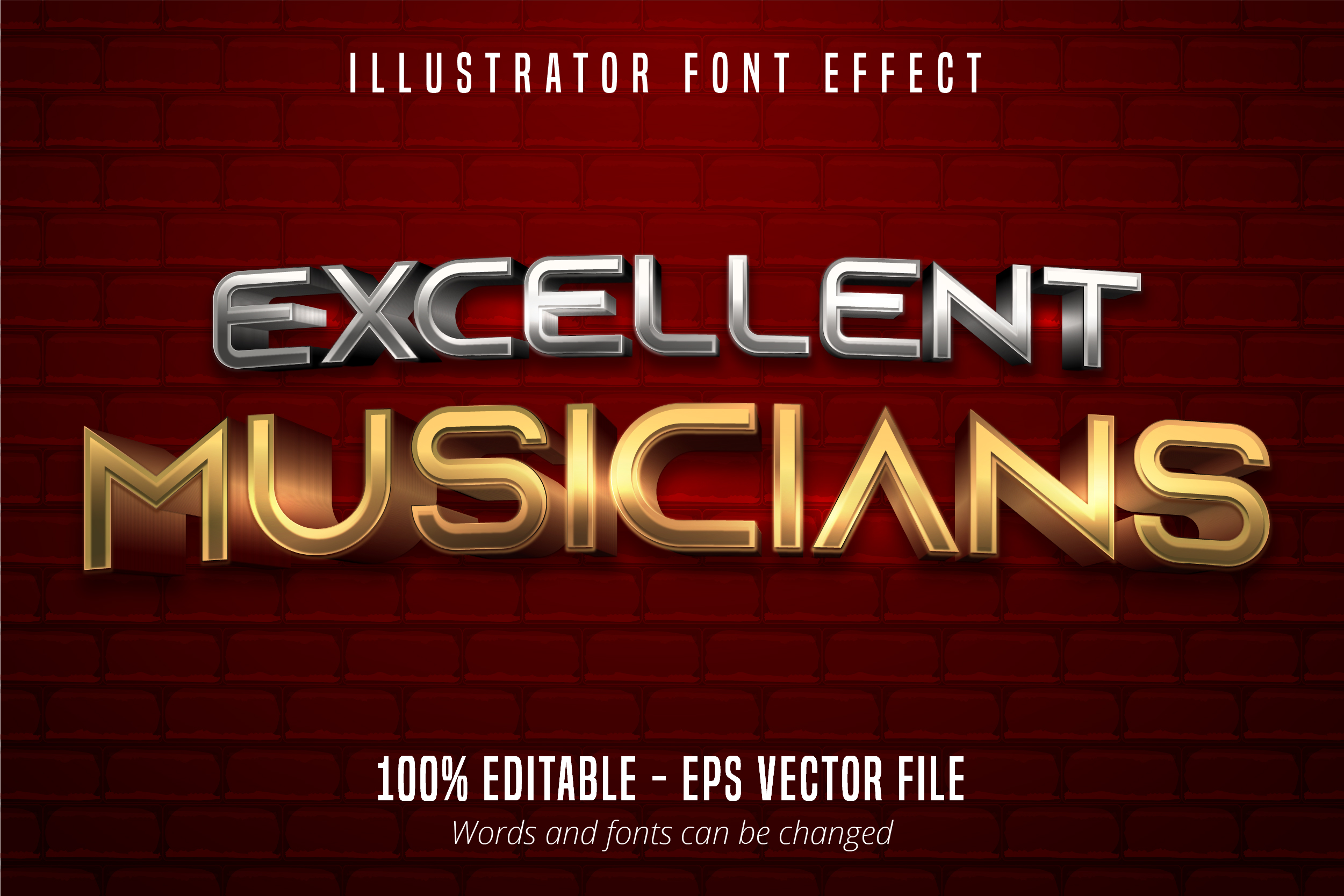 Download Free Metallic Style Editable Font Effect Grafik Von Mustafa Beksen for Cricut Explore, Silhouette and other cutting machines.