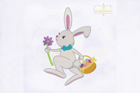 Miss Bunny with Easter Basket Easter Embroidery Design By RoyalEmbroideries