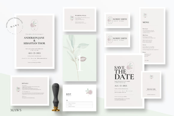 Download Free Modern Artistic Wedding Suite Graphic By Azka Creative for Cricut Explore, Silhouette and other cutting machines.