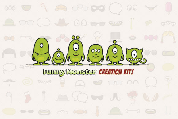 Download Free Monster Family Creation Kit Grafik Von Sargatal Creative Fabrica for Cricut Explore, Silhouette and other cutting machines.