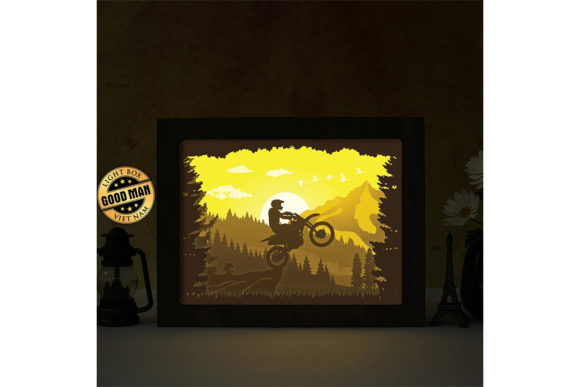 Motocycle 3D Paper Cutting Light Box Graphic 3D Shadow Box By LightBoxGoodMan