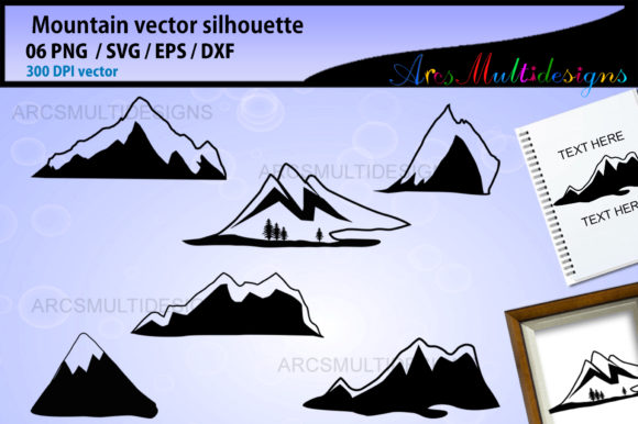 Download Free Mountain Silhouette Graphic By Arcs Multidesigns Creative Fabrica for Cricut Explore, Silhouette and other cutting machines.