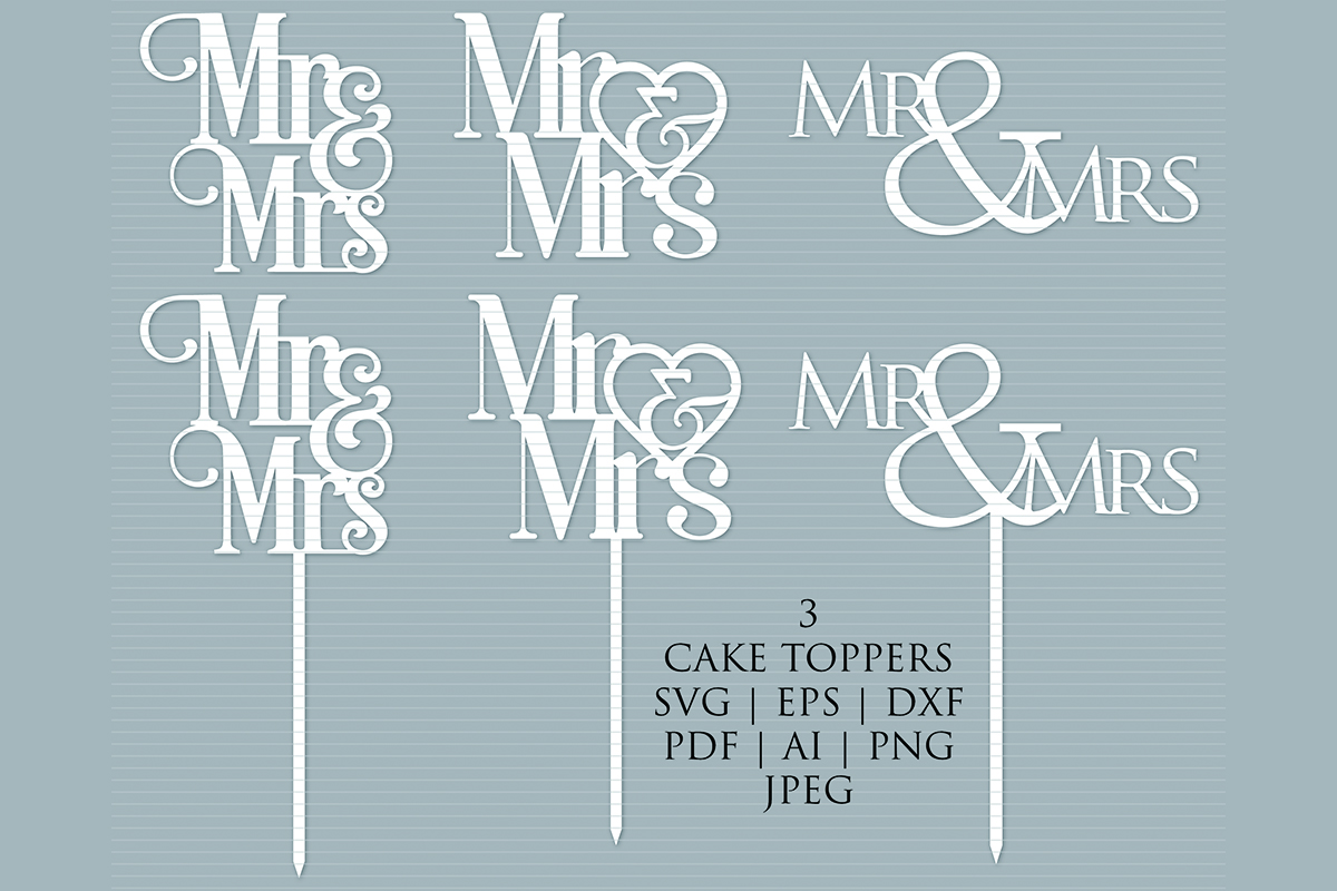 Download Free Mr Mrs Cake Topper Cut Template Graphic By Meshaarts for Cricut Explore, Silhouette and other cutting machines.