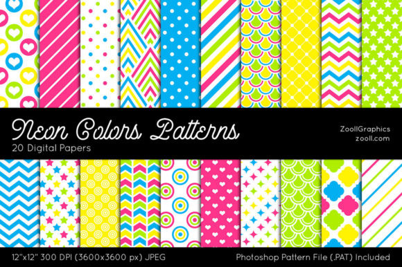 Download Free Neon Colors Digital Papers Graphic By Zoollgraphics Creative for Cricut Explore, Silhouette and other cutting machines.