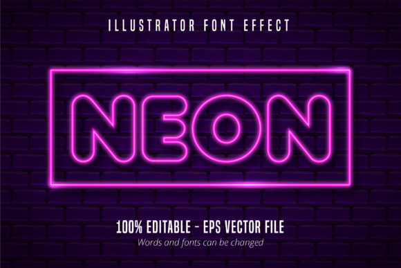 Print on Demand: Neon Lights Style Editable Font Effect Graphic Graphic Templates By Mustafa Bekşen
