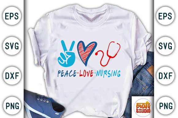 Download Free Nurse Design Peace Love Nursing Graphic By Craftstudio for Cricut Explore, Silhouette and other cutting machines.