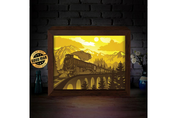 Print on Demand: Old Train 1 3D Paper Cutting Light Box Graphic 3D Shadow Box By LightBoxGoodMan