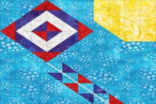 Patriotic Sampler Block 04 - Kite Gráfico Quilt Patterns Por seamstobesew