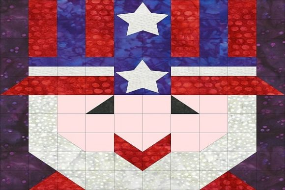 Patriotic Sampler Block 08 - Uncle Sam Graphic Quilt Patterns By seamstobesew