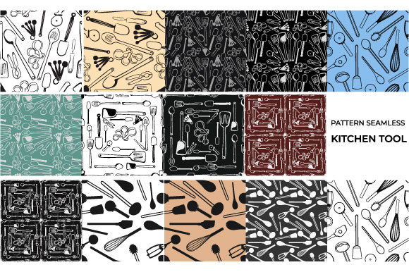 Download Free Pattern Seamless Kitchen Tools Bundle Graphic By Iop Micro for Cricut Explore, Silhouette and other cutting machines.