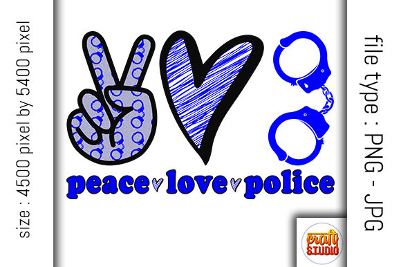 Print on Demand: Peace, Love, Police Design Graphic Print Templates By CraftStudio