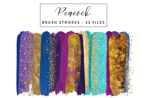 Peacock Brush Strokes Graphic Illustrations By clipheartcreations