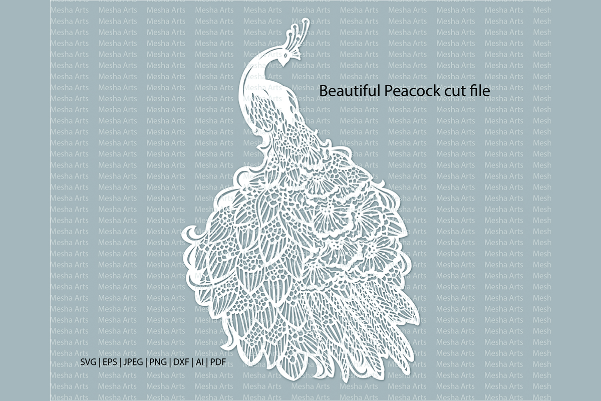 Download Free Peacock Paper Cut Template Graphic By Meshaarts Creative Fabrica for Cricut Explore, Silhouette and other cutting machines.