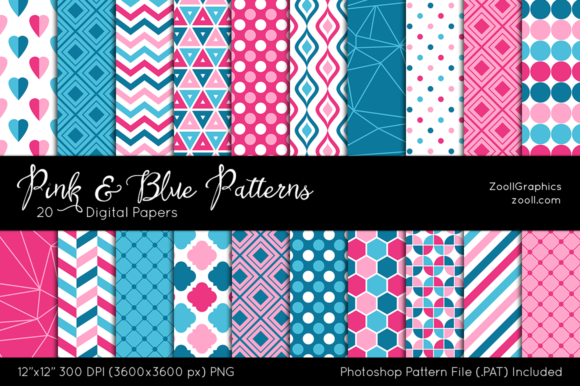 Pink and Blue Digital Papers Graphic Patterns By ZoollGraphics