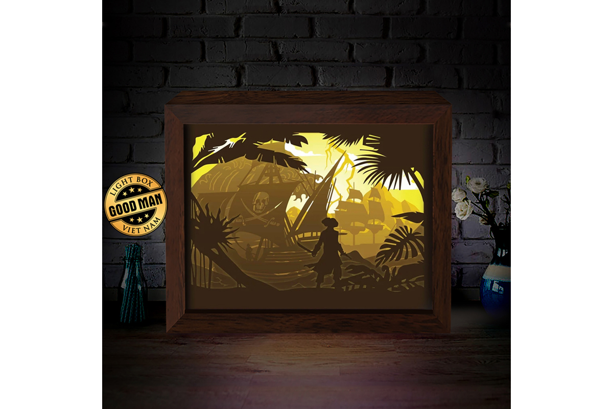 Download Free Pirate Ship 3d Paper Cutting Light Box Graphic By for Cricut Explore, Silhouette and other cutting machines.