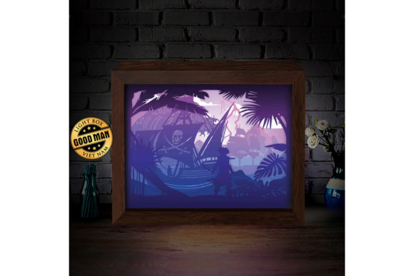 Pirate Ship 3d Paper Cutting Light Box Graphic By
