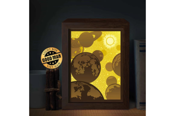 Download Free Planet 1 3d Paper Cutting Light Box Graphic By Lightboxgoodman for Cricut Explore, Silhouette and other cutting machines.