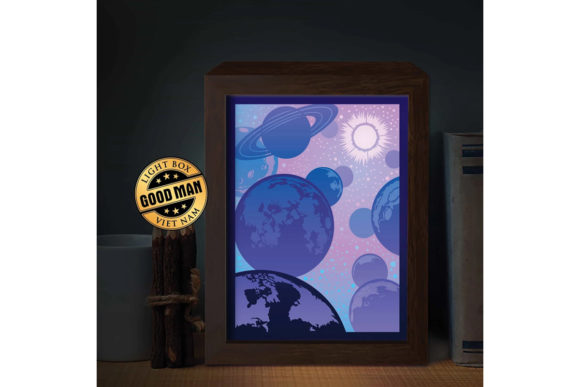 Planet 1 3d Paper Cutting Light Box Graphic By Lightboxgoodman Creative Fabrica