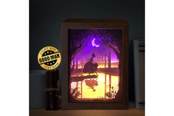 Princess Lost Shoe 3D Paper Light Box Graphic
