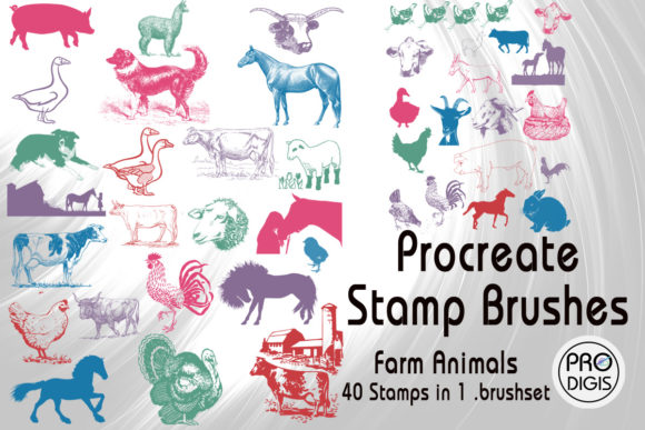 Download Free Procreate Stamp Brushes Farm Animals Graphic By Prodigis for Cricut Explore, Silhouette and other cutting machines.