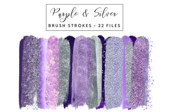 Purple & Silver Brush Strokes Graphic Illustrations By clipheartcreations