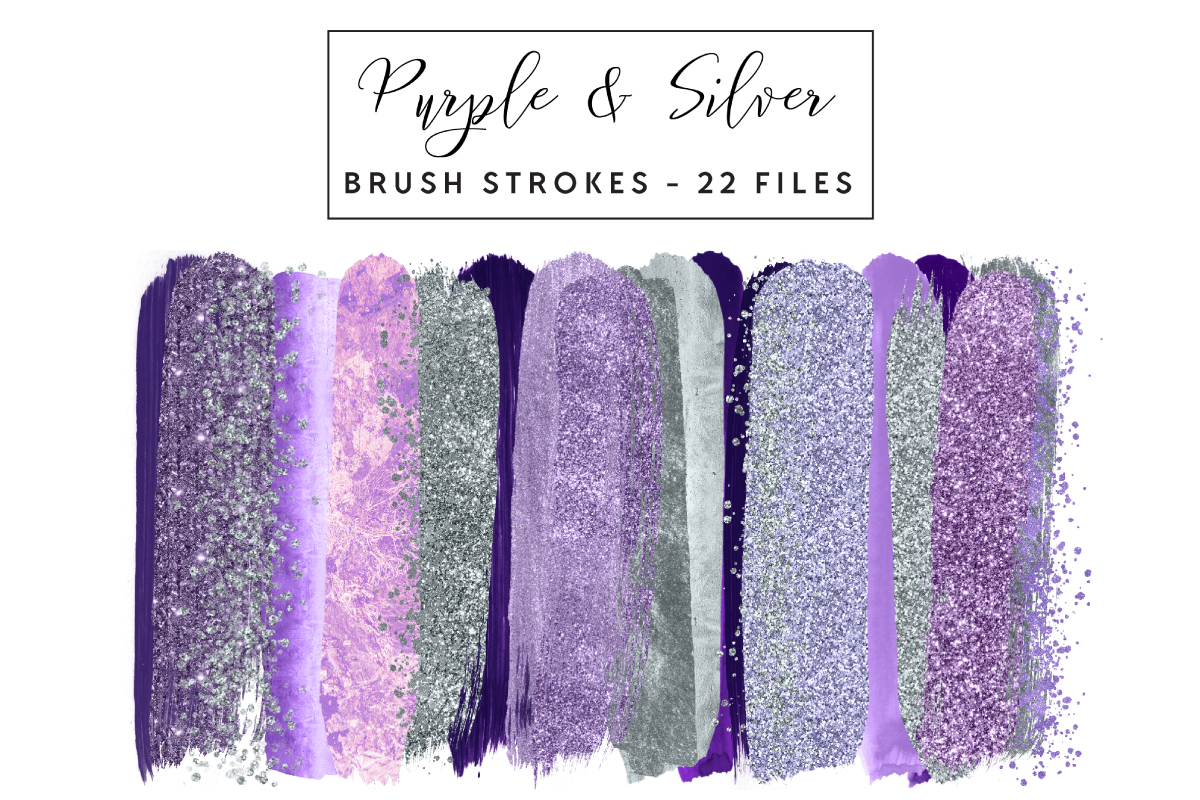 Download Free Purple Silver Brush Strokes Graphic By Clipheartcreations Creative Fabrica for Cricut Explore, Silhouette and other cutting machines.