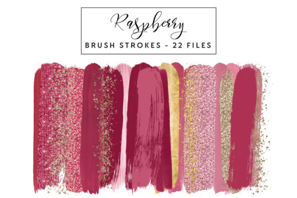 Raspberry Brush Strokes Graphic Illustrations By clipheartcreations