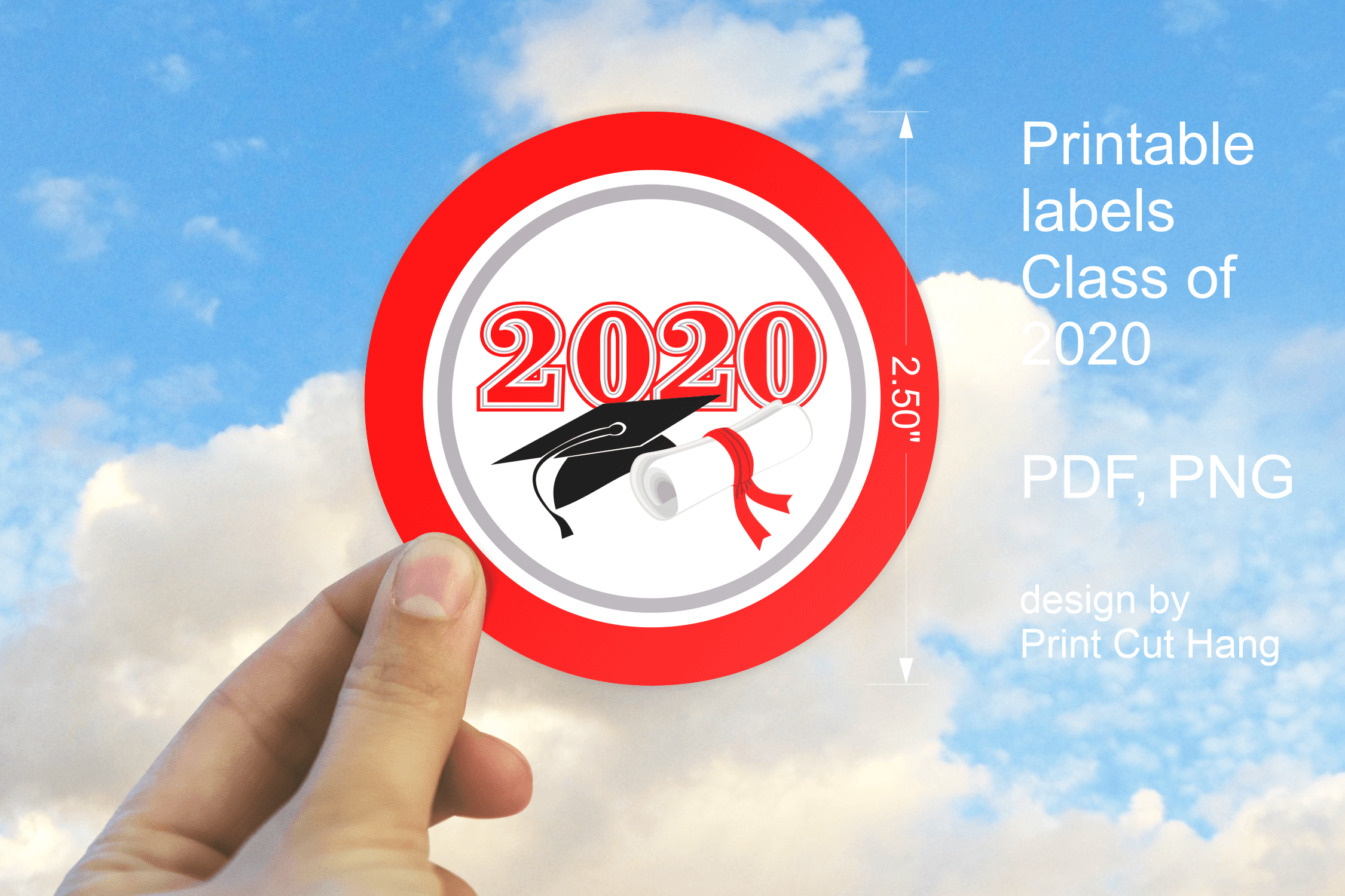 Red Graduation Congratulations Class of 2020 Round Stickers