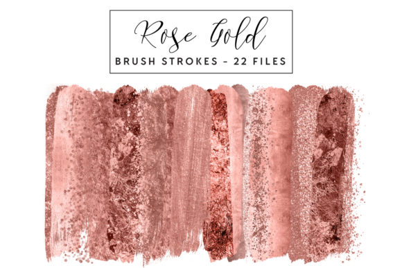Rose Gold Brush Strokes Graphic Illustrations By clipheartcreations