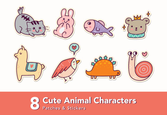 Download Free Set Of Cute Animals Character Sticker Graphic By Big Barn for Cricut Explore, Silhouette and other cutting machines.