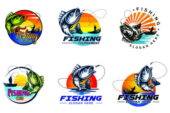 Print on Demand: Set of Fishing Emblem Logo Template Graphic Logos By blueberry 99d