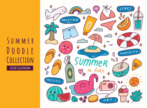 Set of Summer Doodles Graphic Illustrations By Big Barn Doodles