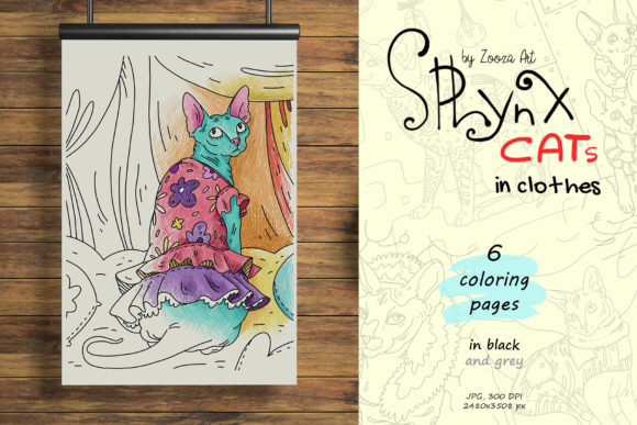 Print on Demand: Sphynx Cats in Clothes - Coloring Book Graphic Coloring Pages & Books Adults By Zooza Art