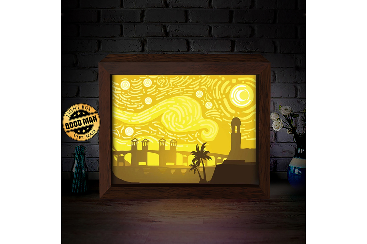 Download Free St Florida Van Gogh 3d Paper Light Box Graphic By for Cricut Explore, Silhouette and other cutting machines.
